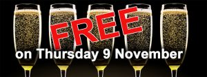 Free champagne – sure, why not?